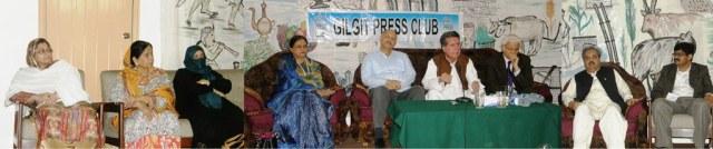 Senators addressing the media at the Gilgit Press Club