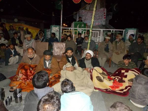 Skardu: Leaders of the Awami Action Committee at the sit-in during the cold night