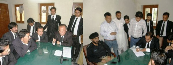 A group of lawyers later reached the Jutial Police Station to register a case against the AC