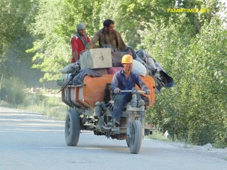 CRBC workers traveling from camp to the other in Gulmit, the Tehsil Headquarters. PT Photo