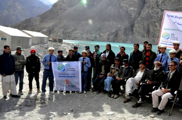 School students and locals attended the ceremony held at the bank of the dammed Hunza River in Shishkat village