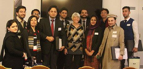 "Delegates meet Ms. Ulla Sandbaek, representative of the ""Alternative Party"" in Copenhagen, Denmark"