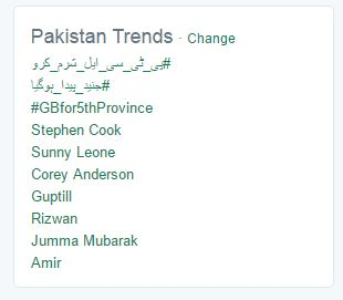 #GBfor5thprovince trends in Pakistan