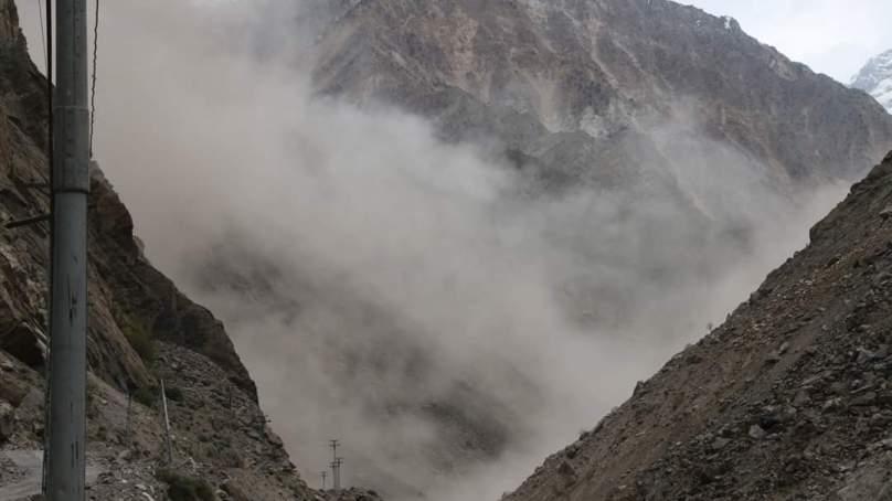 Landslide temporarily blocks Astore River, damages road