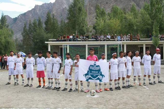 Team Shah-e-Chiragh FC before the match, Photo: Rehmat Jabbar
