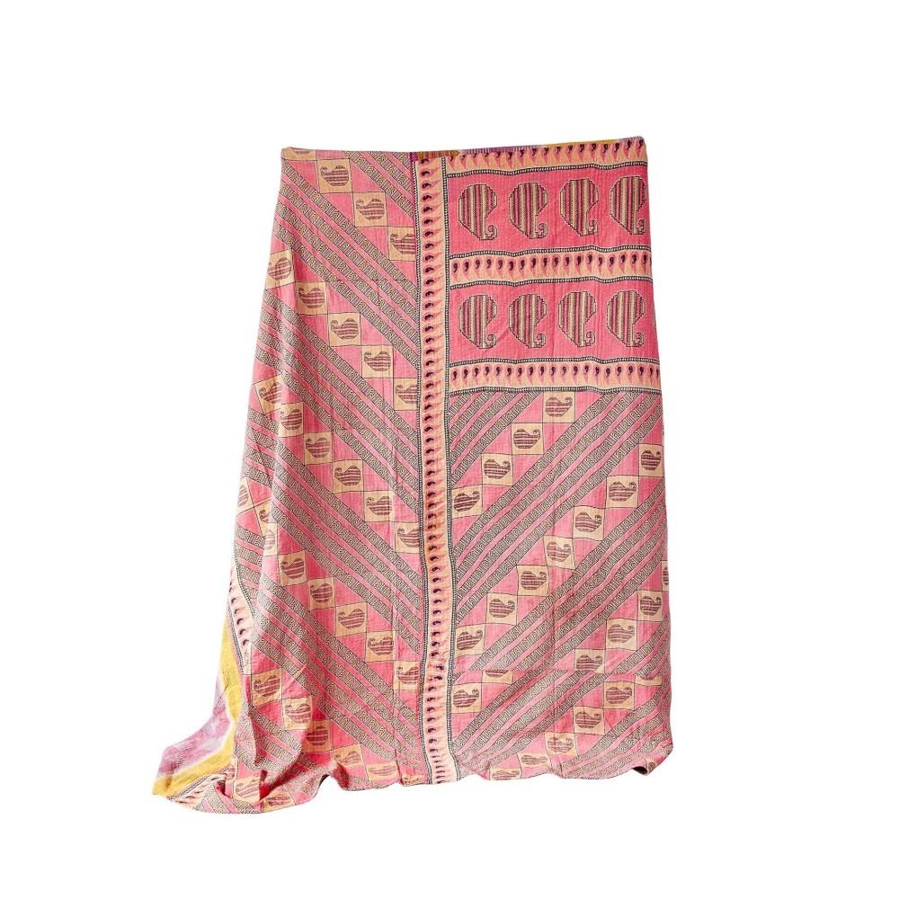 Cotton Vintage Kantha Quilt Coverlet