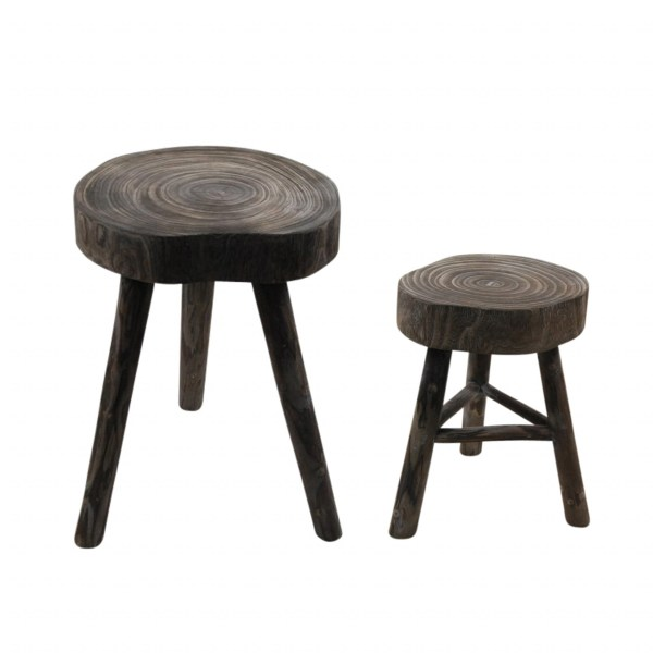 Rota Wooden Stool Accent Table - Grey