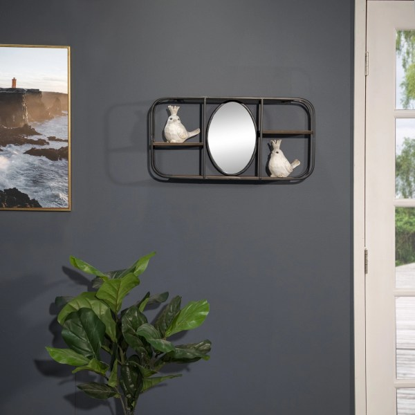 Granada Rectangular Wood Wall Shelf with Mirror