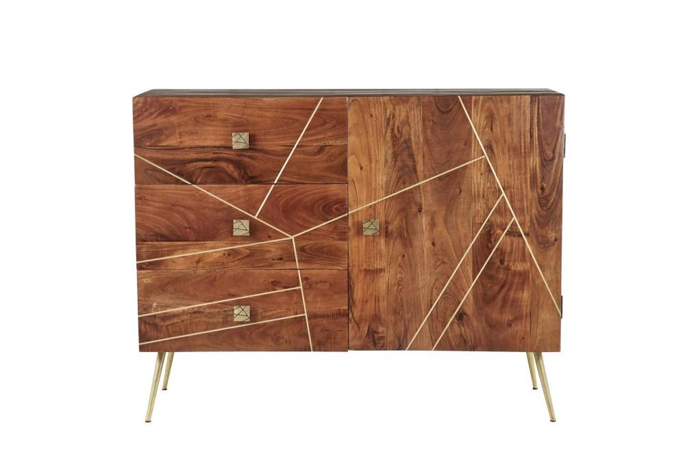 Rectangular Wood Buffet Cabinet With Gold Metal