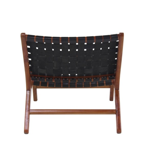 Black Leather Contemporary Accent Chair