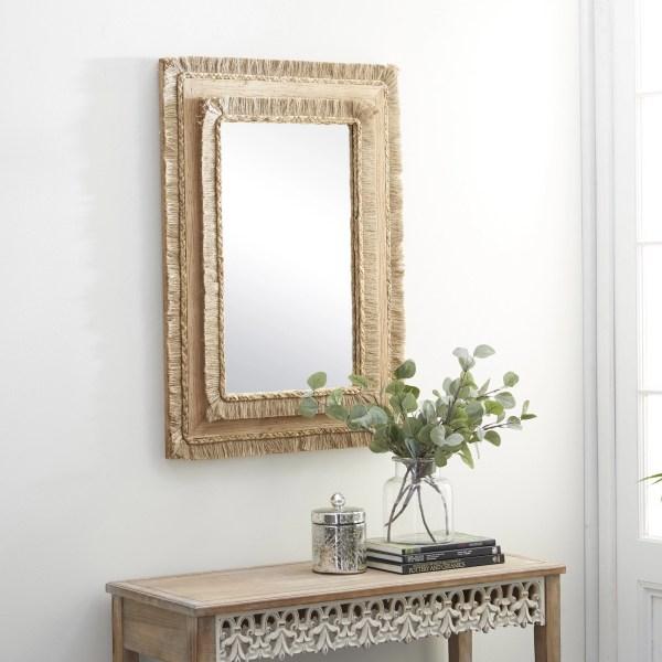 Wood Rectangular Wall Mirror