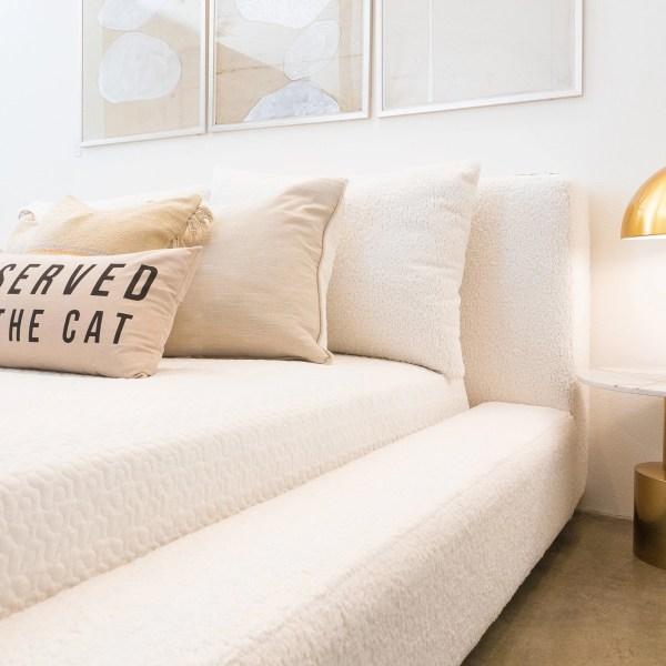 maxwell bed custom boucle white