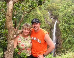 Couple in front of Waterfall in Hawaii
