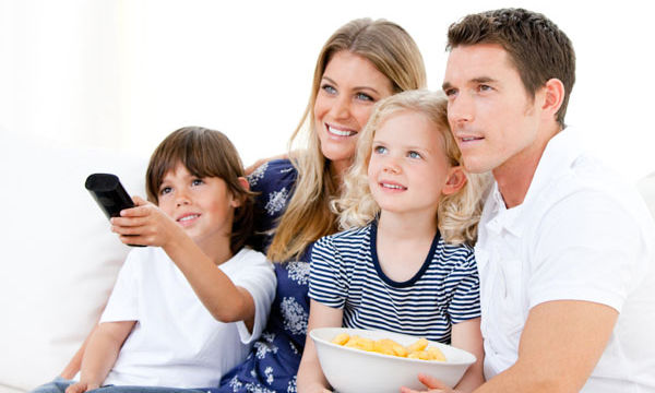 family-watching-movie-together