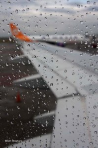 rain on plane window
