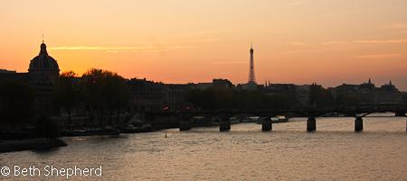 Sunset on the Seine, Paris, France