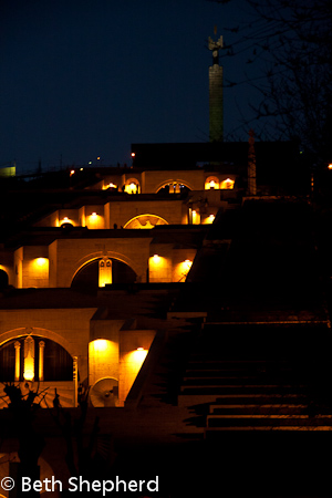 Yerevan Cascades at night, Armenia