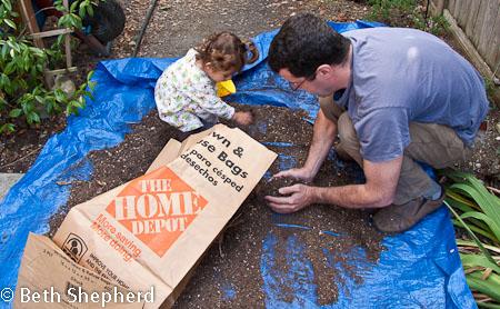 Dumping the potato soil