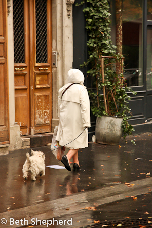 Woman and dog in Paris