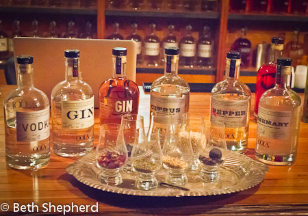 The spirits line-up at Oola Distillery