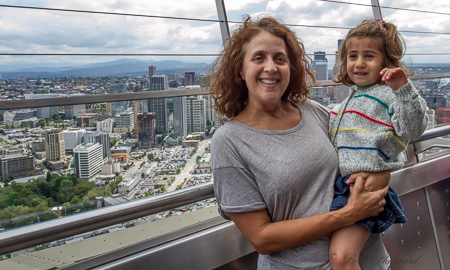 Space Needle at the top with Seattle below