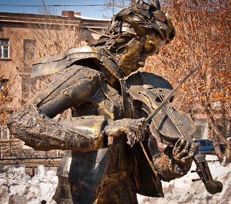 Gyumri sculpture violin player