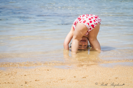 Upside down at Anini Beach