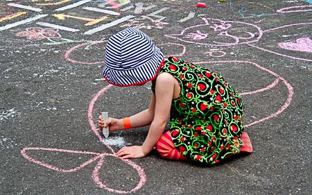 Chalk coloring at Hopscotch C.D.