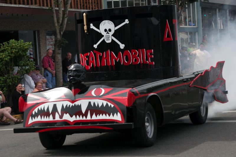 COURTESY: KATHERINE WILSON - The DeathMobile took out the viewer stands in the 1978 film 'Animal House.' The scene was shot in Cottage Grove; most of 'Animal House' was shot in Eugene at the University of Oregon.