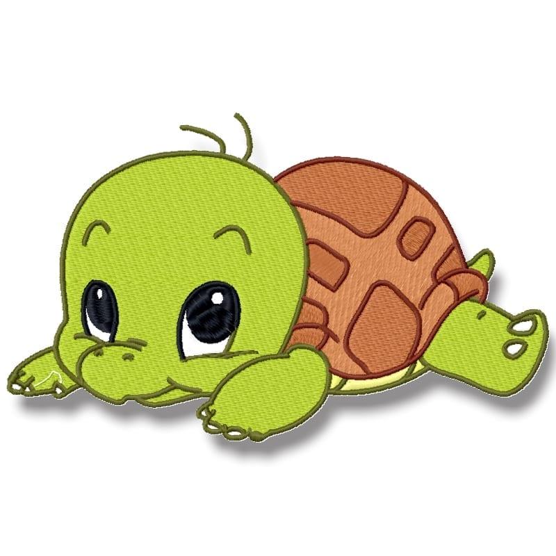 Baby tortoise applique embroidery design cute cartoon