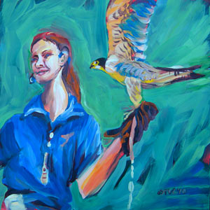 Falcon and Trainer © Pam Van Londen 2010. oil on 8x8 gessoboard.