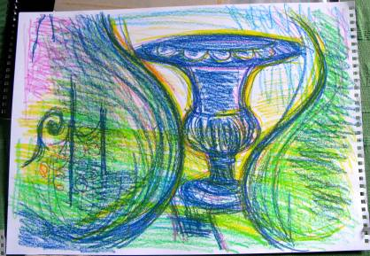 crayon drawing - mostly blue