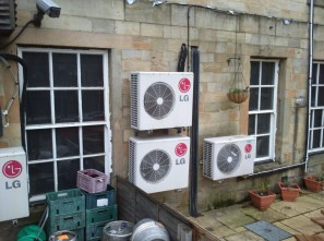 air conditioning units on pub wall