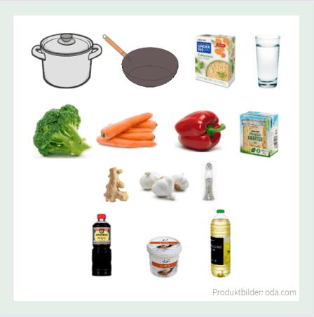 Vegansk wok hverdagsmiddag produkter
