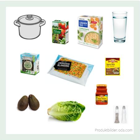 vegansk hverdagsmiddag taco ris produkter