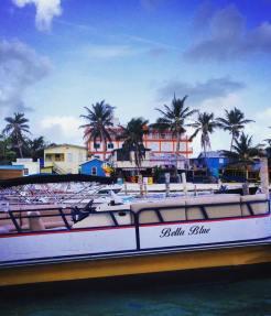 Boats along the dock in Caye Caulker