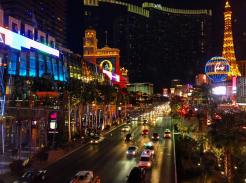 The Las Vegas strip as seen from an overpass sidewalk