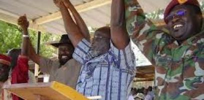 Leaders of SPLM join their hands following successful reconciliation between John Garang and Salva Kiir in Rumbek, Dec. 1, 2004 (ST)Can the current leaders learn from this?