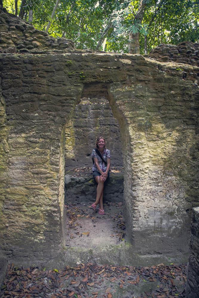 Emma checks out an ancient Mayan home.