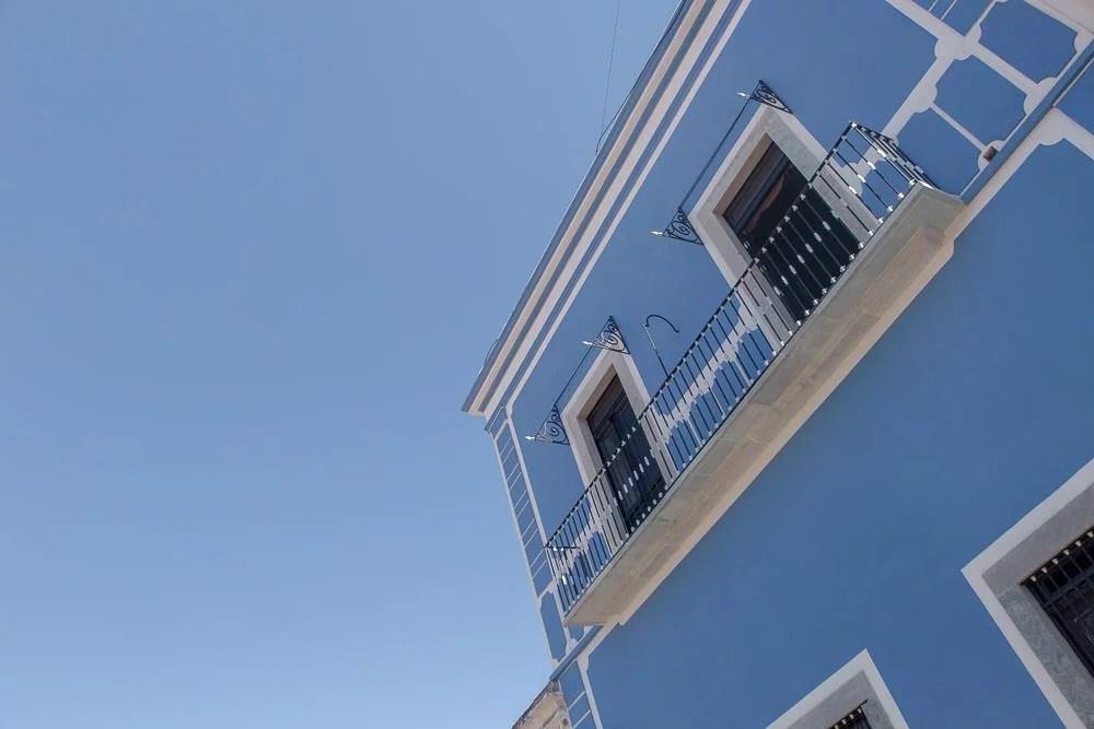 Blue sky, blue building.