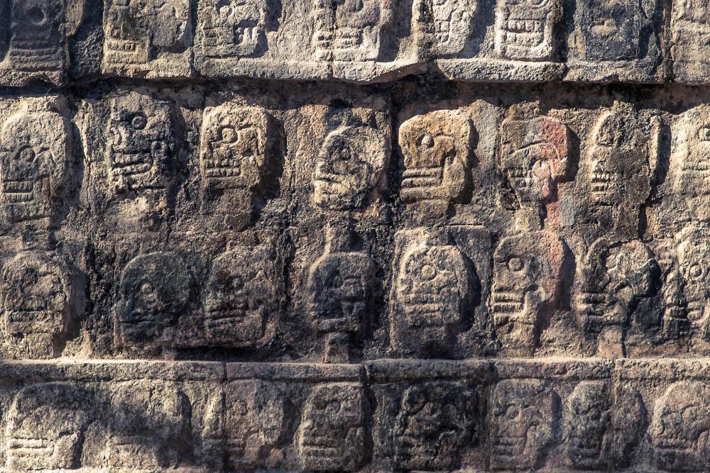 Including the typically terrifying altar of skulls (Tzompantli)