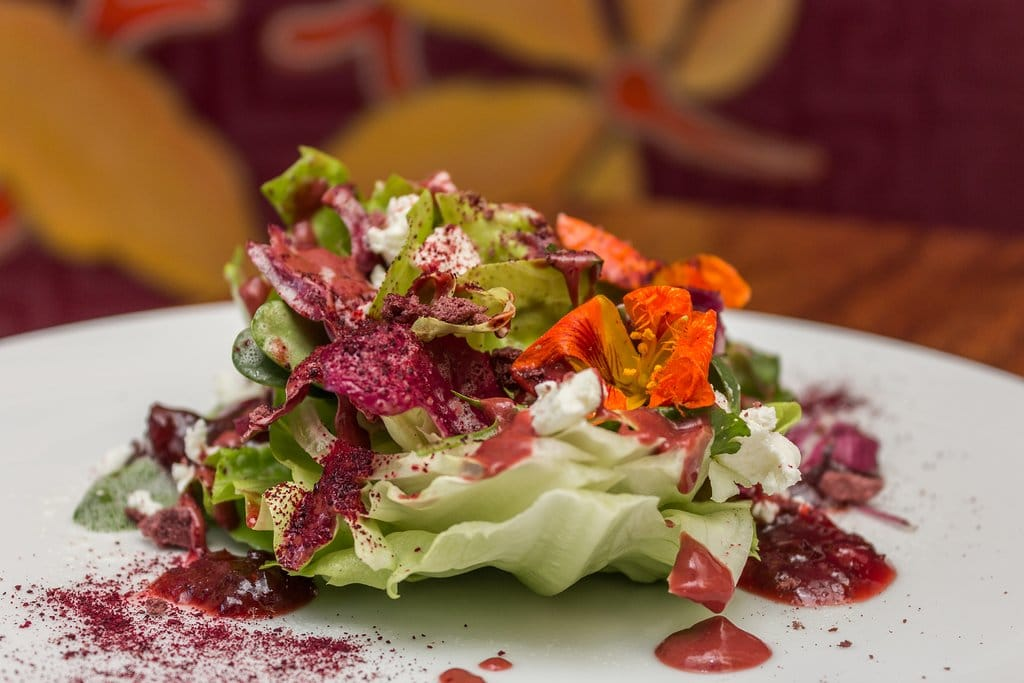 J'Adore salad with butter lettuce, radicchio, sunflower seed, chives, raspberry crisp, beet powder, tree tomato dressing and fresh goat cheese.