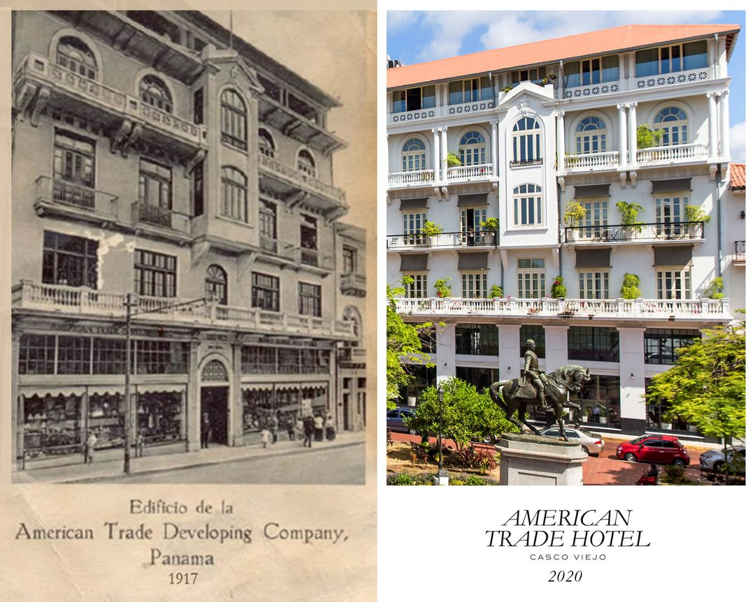 Historical and new building of American Trade Hotel