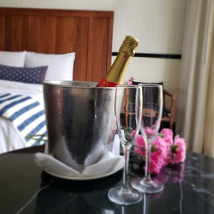 Champagne in room at the American Trade Hotel in Casco Viejo