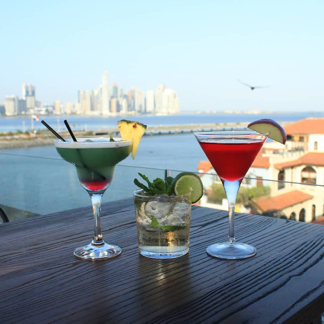 Cocktails from StorX Sky Lounge in Casa Antigua Hotel overlooking the bay of Panama