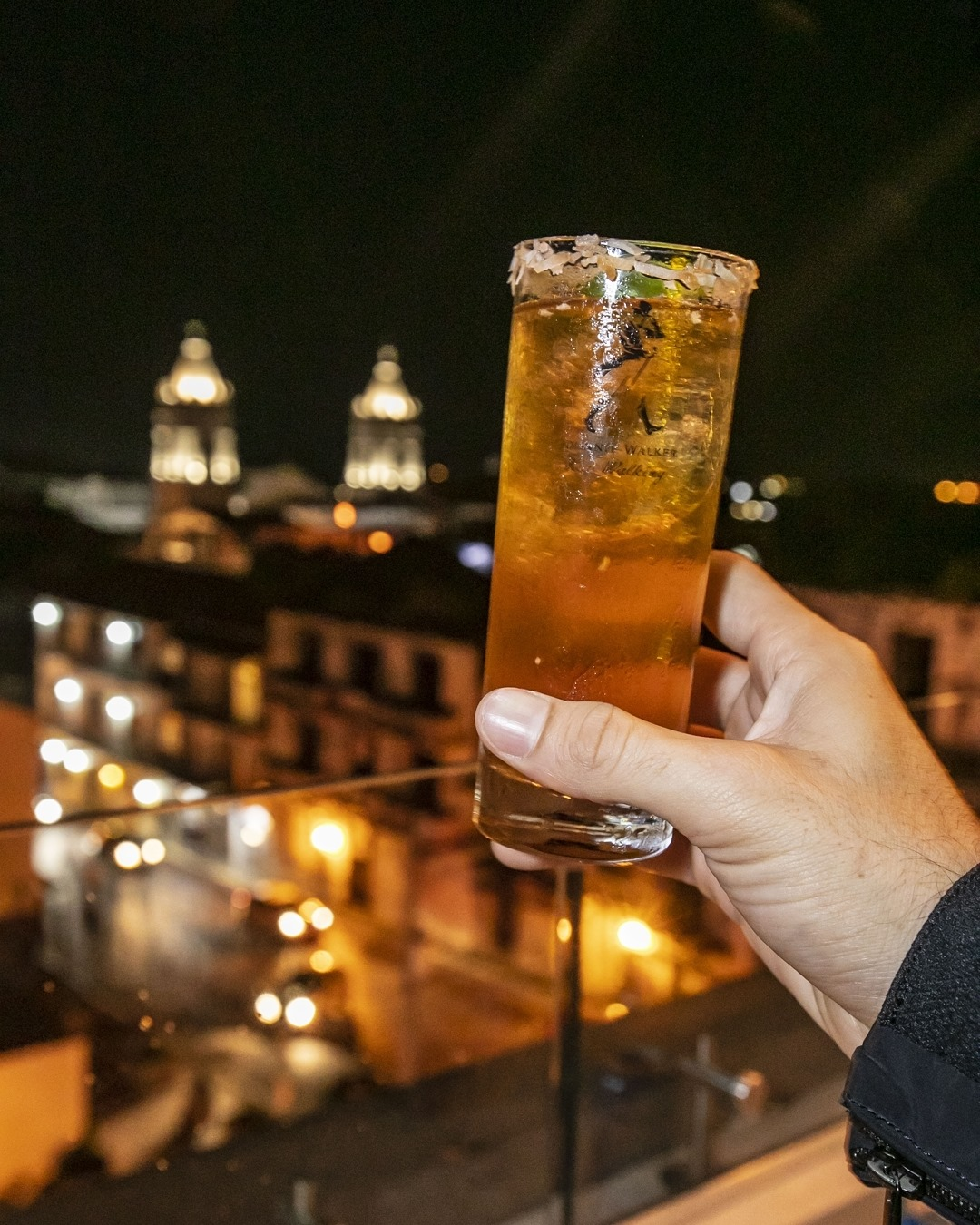 Drink overlooking the Metropolitan Cathedral of Panama from StorX Sky Lounge in Casa Antigua Hotel