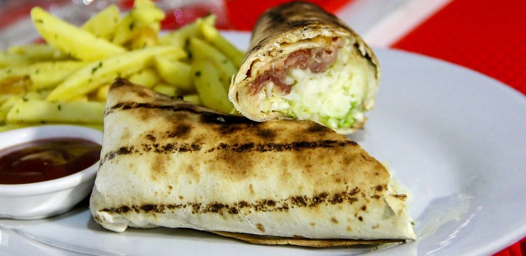 Wrap with french fries at Coliseum Roma Restaurant Panama