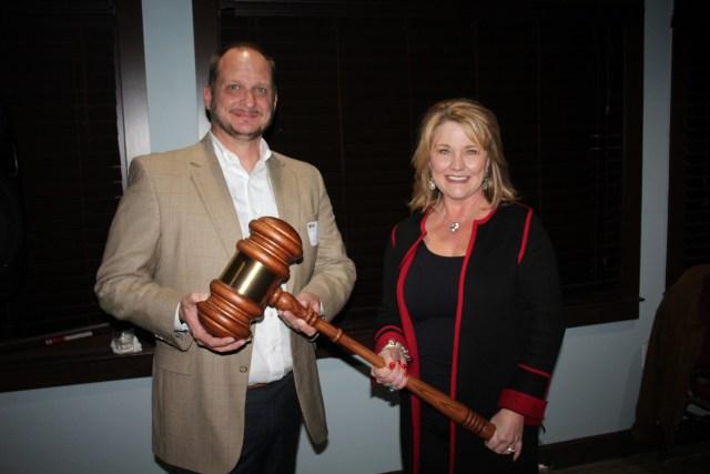 2018 MAC Chair Claire Sherman passes the gavel to 2019 MAC Chair Doug Moore.