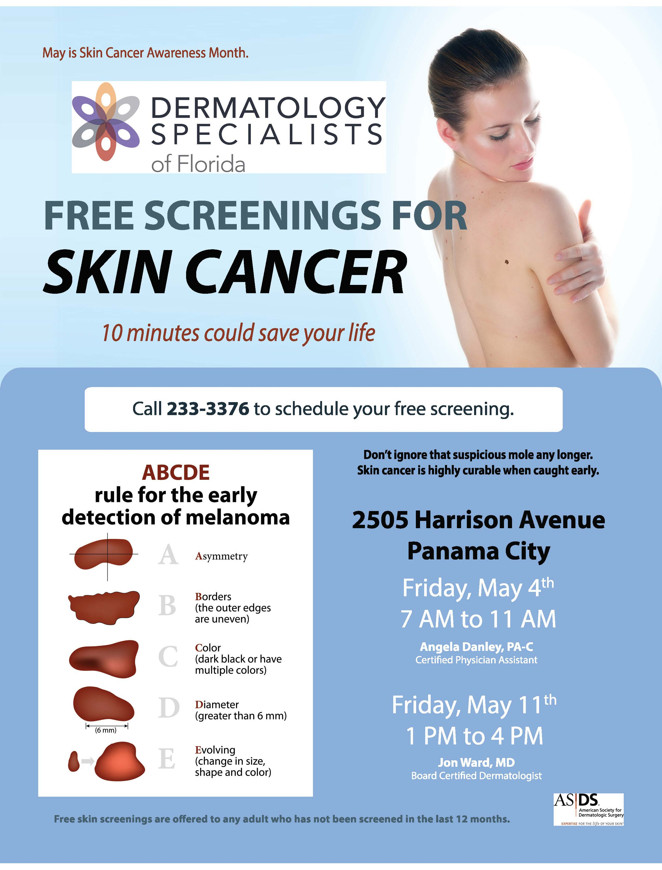 Free Skin Cancer Screening at Dermatology Specialists of