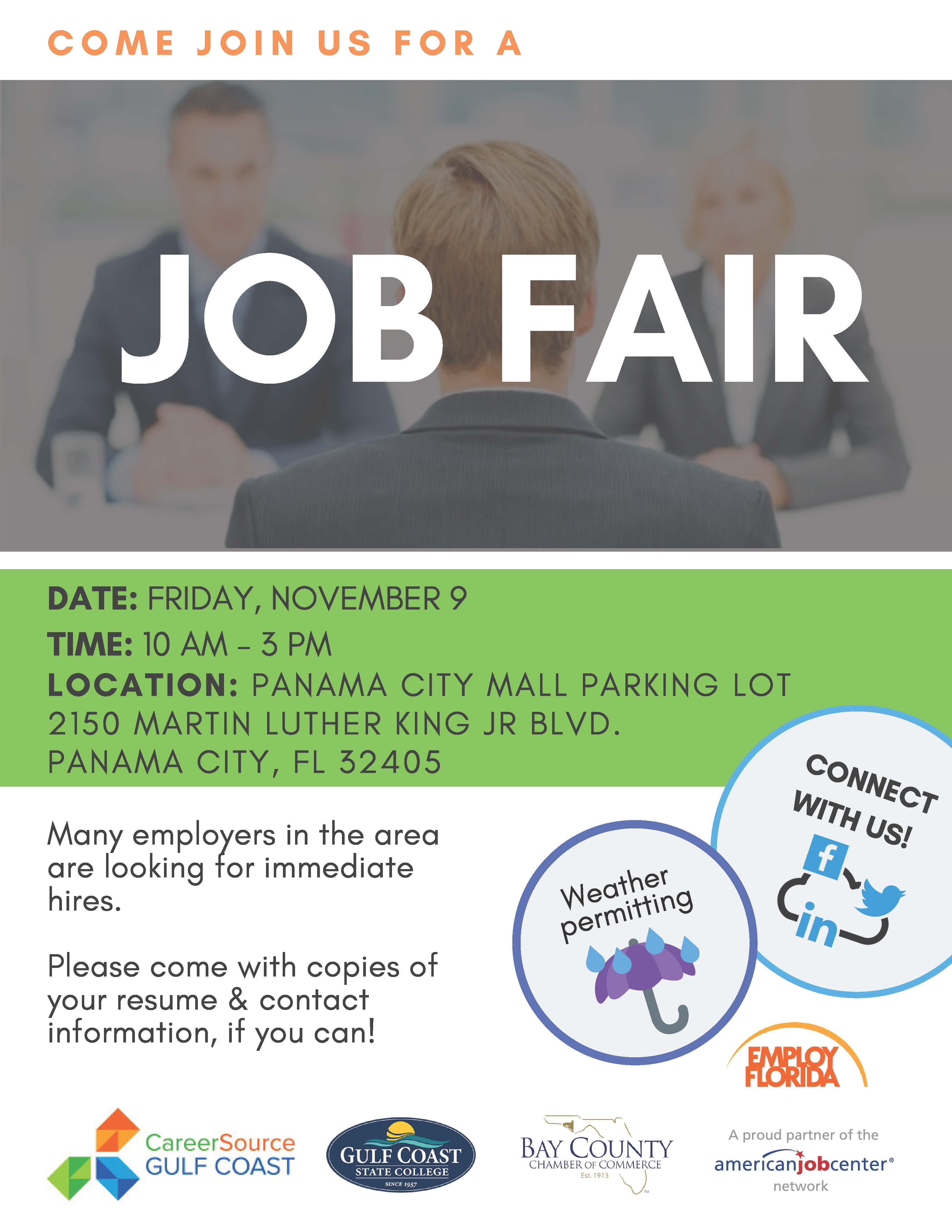 The Post Hurricane Michael Job Fair will be at the Panama City Mall on November 9th from 10 am to 3 pm.